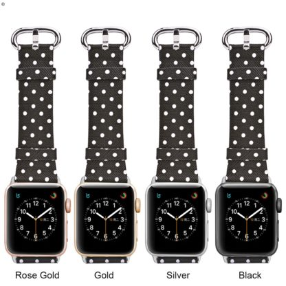 Apple Watch Band 38mm, Wolait iWatch Wristband Replacement Strap for Apple Watch Series1 Series2 Series3-White Polka Dots in Black Background 4