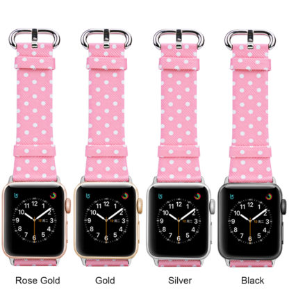Wolait Replacement for Apple Watch Band, iWatch Wristband Strap Compatible for Apple Watch Series1 Series2 Series3-White Polka Dots in Pink Background (42mm) 4