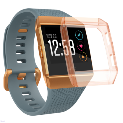 Fitbit Ionic Case, Wolait TPU Protective Frame Shock Resistant Bumper for Ionic Smart Watch- Transparent Orange 1