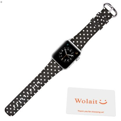 Apple Watch Band 38mm, Wolait iWatch Wristband Replacement Strap for Apple Watch Series1 Series2 Series3-White Polka Dots in Black Background 7
