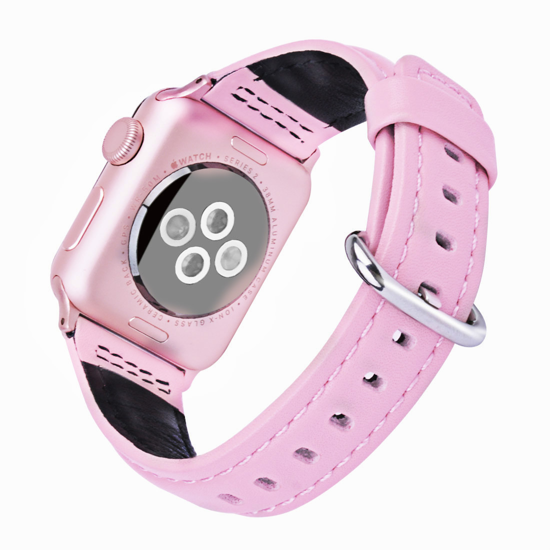 Apple Watch Band Wolait Soft Genuine Sheep Leather Bands Strap For 2 Series 1 38mm Rose Gold Aluminum Pink Sport 3 42mm