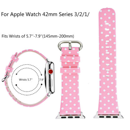 Wolait Replacement for Apple Watch Band, iWatch Wristband Strap Compatible for Apple Watch Series1 Series2 Series3-White Polka Dots in Pink Background (42mm) 2
