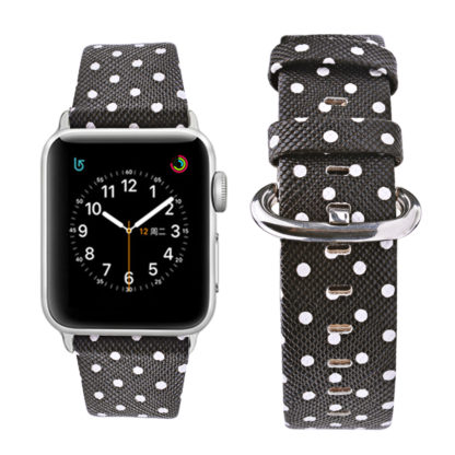 Apple Watch Band 42mm, Wolait iWatch Wristband Replacement Strap for Apple Watch Series1 Series2 Series3-White Polka Dots in Black Background (Copy) 3