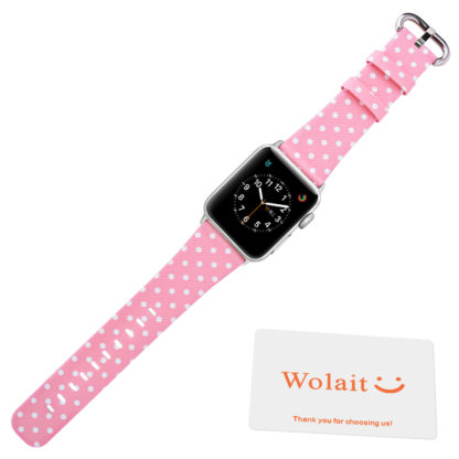 Wolait Replacement for Apple Watch Band, iWatch Wristband Strap Compatible for Apple Watch Series1 Series2 Series3-White Polka Dots in Pink Background (42mm) 5