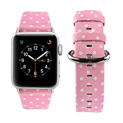 Wolait Replacement for Apple Watch Band, iWatch Wristband Strap Compatible for Apple Watch Series1 Series2 Series3-White Polka Dots in Pink Background (42mm) 1