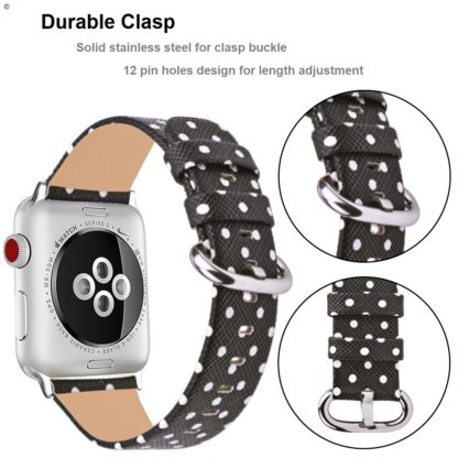 Apple Watch Band 42mm, Wolait iWatch Wristband Replacement Strap for Apple Watch Series1 Series2 Series3-White Polka Dots in Black Background (Copy) 2