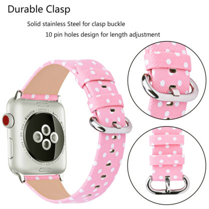 Wolait Replacement for Apple Watch Band, iWatch Wristband Strap Compatible for Apple Watch Series1 Series2 Series3-White Polka Dots in Pink Background (42mm) 3