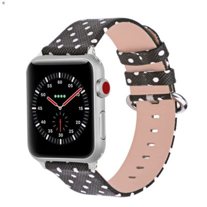 Apple Watch Band 42mm, Wolait iWatch Wristband Replacement Strap for Apple Watch Series1 Series2 Series3-White Polka Dots in Black Background (Copy) 1