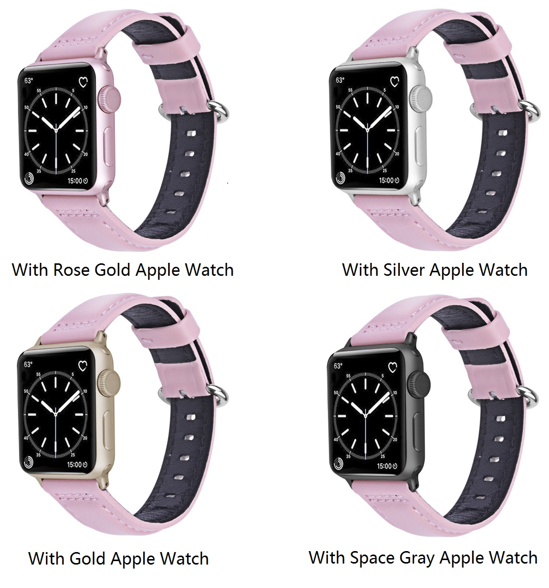 Apple Watch Band Wolait Soft Genuine Sheep Leather Bands Strap For Apple Watch Series 3 Series 2 Series 1 Rose Gold 38mm Wolait