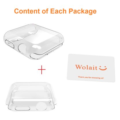 Wolait Compatible Apple Watch Case, [2pack] 42mm Clear Soft TPU Case with Built-in Screen Protector for Apple Watch Series 2 Series 1 6