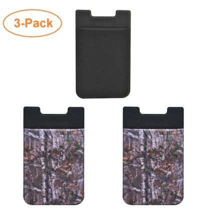 Cell Phone Wallet by Wolait, Lycra 3-Pack Universal Phone Card Holder with 3M Sticker for iPhone, LG, Samsung, and most of small phone &case -Camo Tree 7
