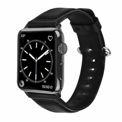 Apple Watch Band, Wolait Soft Genuine Sheep Leather Bands Strap for Apple Watch Series 3 Series 2 Series 1 Black, 38mm 1