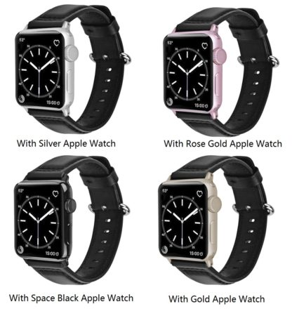 Apple Watch Band, Wolait Soft Genuine Sheep Leather Bands Strap for Apple Watch Series 3 Series 2 Series 1 Black, 38mm 4