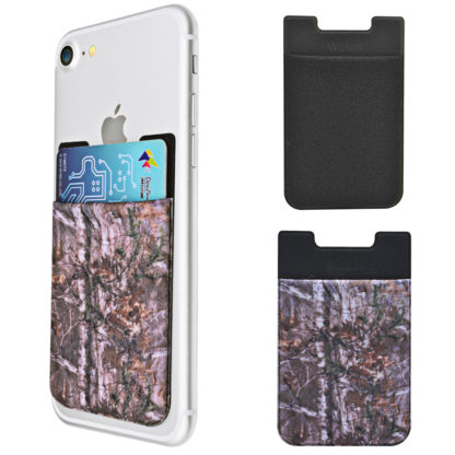 Cell Phone Wallet by Wolait, Lycra 3-Pack Universal Phone Card Holder with 3M Sticker for iPhone, LG, Samsung, and most of small phone &case -Camo Tree 1