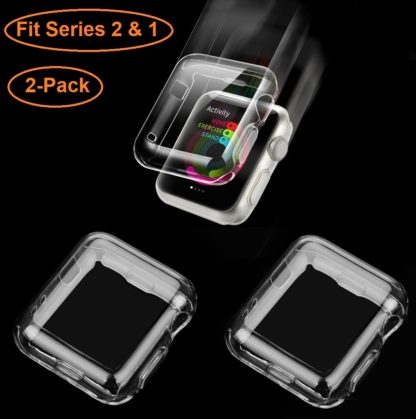 Wolait Compatible Apple Watch Case, [2pack] 42mm Clear Soft TPU Case with Built-in Screen Protector for Apple Watch Series 2 Series 1 1