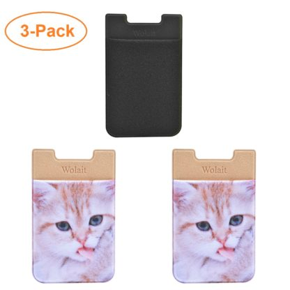 Cell Phone Wallet by Wolait, Lycra 3-Pack Universal Phone Card Holder with 3M Sticker for iPhone, LG, Samsung, and most of small phone &case -Cute Cat 2