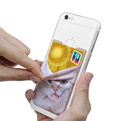 Cell Phone Wallet by Wolait, Lycra 3-Pack Universal Phone Card Holder with 3M Sticker for iPhone, LG, Samsung, and most of small phone &case -Cute Cat 6