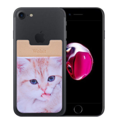 Cell Phone Wallet by Wolait, Lycra 3-Pack Universal Phone Card Holder with 3M Sticker for iPhone, LG, Samsung, and most of small phone &case -Cute Cat 5