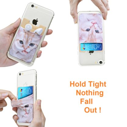 Cell Phone Wallet by Wolait, Lycra 3-Pack Universal Phone Card Holder with 3M Sticker for iPhone, LG, Samsung, and most of small phone &case -Cute Cat 4