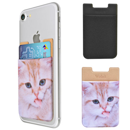 Cell Phone Wallet by Wolait, Lycra 3-Pack Universal Phone Card Holder with 3M Sticker for iPhone, LG, Samsung, and most of small phone &case -Cute Cat 1