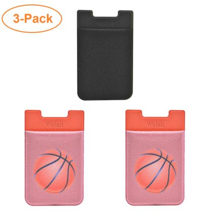 Cell Phone Wallet by Wolait, Lycra 3-Pack Universal Phone Card Holder with 3M Sticker for iPhone, LG, Samsung, and most of small phone &case -Basketball 2