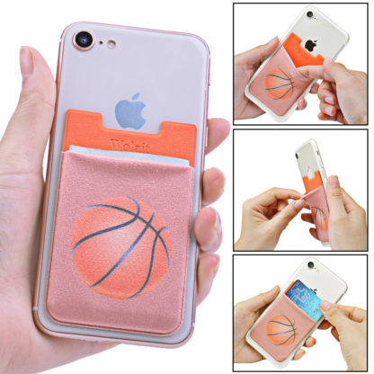 Cell Phone Wallet by Wolait, Lycra 3-Pack Universal Phone Card Holder with 3M Sticker for iPhone, LG, Samsung, and most of small phone &case -Basketball 3