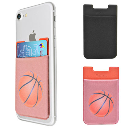 Cell Phone Wallet by Wolait, Lycra 3-Pack Universal Phone Card Holder with 3M Sticker for iPhone, LG, Samsung, and most of small phone &case -Basketball 1