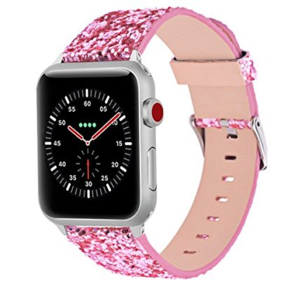 Glitter Apple watch band, Wolait Luxury PU Leather Wristband Replacement Strap for Apple Watch Series 3/2/1 (42mm Pink) 1