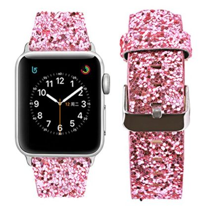 Glitter Apple watch band, Wolait Luxury PU Leather Wristband Replacement Strap for Apple Watch Series 3/2/1 (42mm Pink) 2