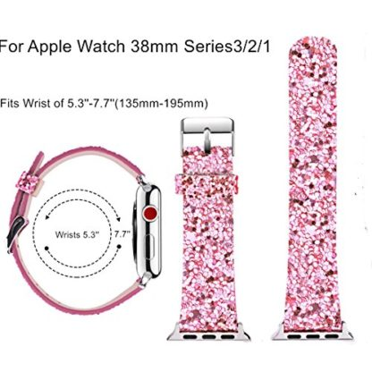 Glitter Apple watch band, Wolait Luxury PU Leather Wristband Replacement Strap for Apple Watch Series 3/2/1 (42mm Pink) 3