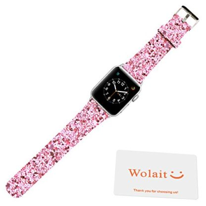 Glitter Apple watch band, Wolait Luxury PU Leather Wristband Replacement Strap for Apple Watch Series 3/2/1 (42mm Pink) 5