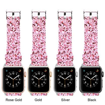 Glitter Apple watch band, Wolait Luxury PU Leather Wristband Replacement Strap for Apple Watch Series 3/2/1 (42mm Pink) 6