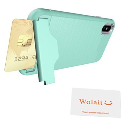 iPhone X Case, Wolait Credit ID Card Slot Holder Wallet Case with Kickstand for Apple iPhone X (Aqua) 7