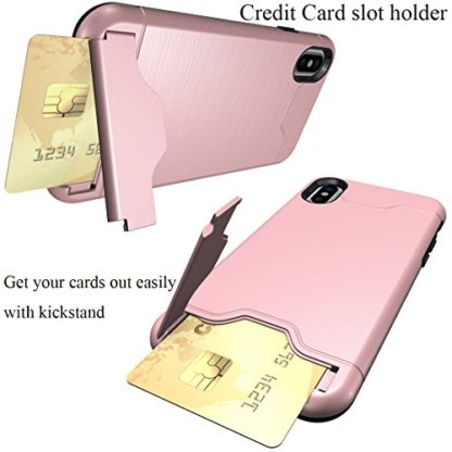 iPhone X Case, Wolait Credit ID Card Slot Holder Wallet Case with Kickstand for Apple iPhone X(Rose Gold) 2