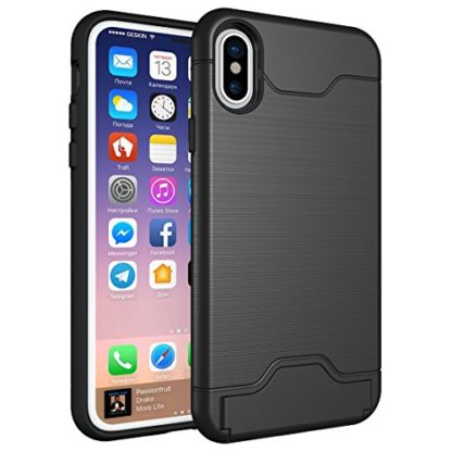 iPhone X Case, Wolait Credit ID Card Slot Holder Wallet Case with Kickstand for Apple iPhone X (Black) 1