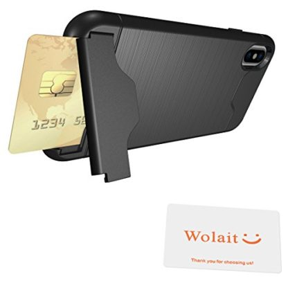 iPhone X Case, Wolait Credit ID Card Slot Holder Wallet Case with Kickstand for Apple iPhone X (Black) 7