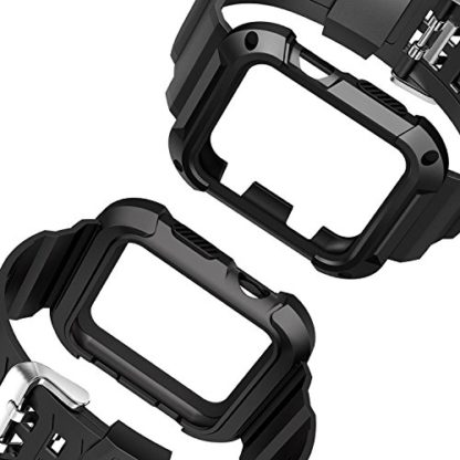 Apple Watch Band 38mm, Wolait Rugged Protective Frame iWatch Case with Band Strap for Apple Watch Series 3/2/1 - Black/Black 4