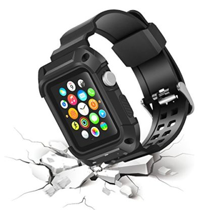 Apple Watch Band 38mm, Wolait Rugged Protective Frame iWatch Case with Band Strap for Apple Watch Series 3/2/1 - Black/Black 5
