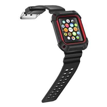 Apple Watch Band 42mm, Wolait Rugged Protective Frame iWatch Case with Band Strap for Apple Watch Series 3/2/1 - Black/Red 6