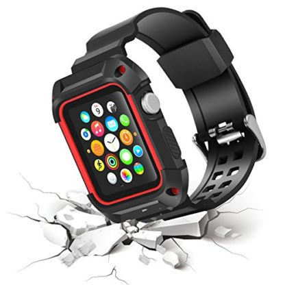 Apple Watch Band 42mm, Wolait Rugged Protective Frame iWatch Case with Band Strap for Apple Watch Series 3/2/1 - Black/Red 3