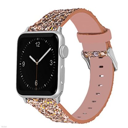 Glitter Apple watch band, Wolait Luxury PU Leather Wristband Replacement Strap for Apple Watch Series 3/2/1 (38mm Gold) 1