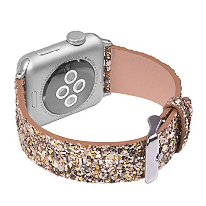 Glitter Apple watch band, Wolait Luxury PU Leather Wristband Replacement Strap for Apple Watch Series 3/2/1 (38mm Gold) 4