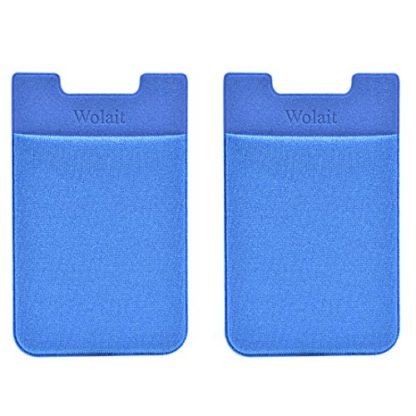 Cell Phone Wallet by Wolait, Lycra 2-Pack Universal Phone Card Holder with 3M Sticker for iPhone, LG, Samsung, and most of small phone &case (Navy) 1