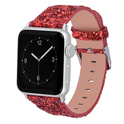 Glitter Apple watch band, Wolait Luxury PU Leather Wristband Replacement Strap for Apple Watch Series 3/2/1 (42mm Red) 1