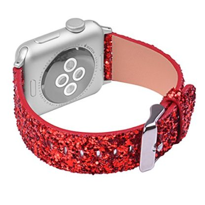Glitter Apple watch band, Wolait Luxury PU Leather Wristband Replacement Strap for Apple Watch Series 3/2/1 (42mm Red) 2