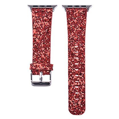 Glitter Apple watch band, Wolait Luxury PU Leather Wristband Replacement Strap for Apple Watch Series 3/2/1 (42mm Red) 3