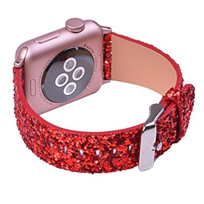 Glitter Apple watch band, Wolait Luxury PU Leather Wristband Replacement Strap for Apple Watch Series 3/2/1 (42mm Red) 4