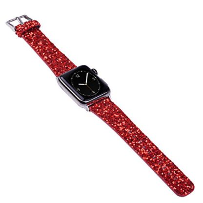 Glitter Apple watch band, Wolait Luxury PU Leather Wristband Replacement Strap for Apple Watch Series 3/2/1 (42mm Red) 6