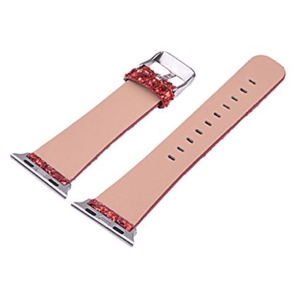 Glitter Apple watch band, Wolait Luxury PU Leather Wristband Replacement Strap for Apple Watch Series 3/2/1 (42mm Red) 7