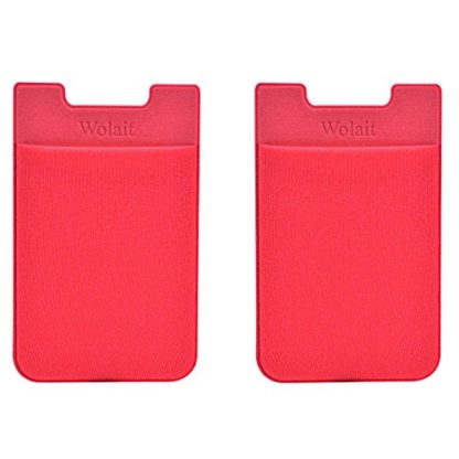 Cell Phone Wallet by Wolait, Lycra 2-Pack Universal Phone Card Holder with 3M Sticker for iPhone, LG, Samsung, and most of small phone &case (Red) 1